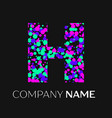 letter h logo with pink purple green particles vector image