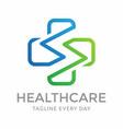 letter s health care logo design vector image vector image
