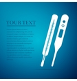 Medical thermometer flat icon on blue background vector image vector image