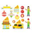 Pizza Shop Graphic Elements vector image vector image