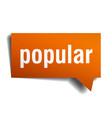 popular orange 3d speech bubble vector image vector image