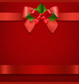 red background with bow vector image vector image