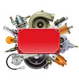 red frame with car spares vector image vector image