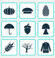 season icons set includes icons such as gourd vector image