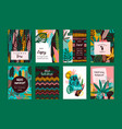 set abstract creative templates with tropical vector image