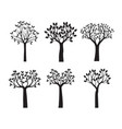 set black trees with leaves outline vector image vector image
