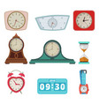 set different clocks and hand watches isolate vector image vector image