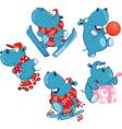 Set of Cartoon Cute Hippo vector image vector image