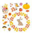 set of cute hand-drawn autumn elements birds