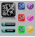 Set web buttons with gears vector image vector image