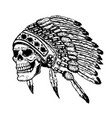 skull in native american indian chief headdress vector image vector image