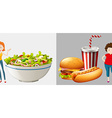 Two women eat different types of food vector image