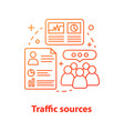website traffic sources concept icon vector image vector image