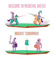 welcome to medieval battle - cartoon knight vector image vector image