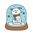 white cat in crystal ball snow celebration merry vector image vector image
