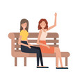 Women sitting in park chair avatar character