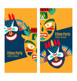 yellow ethno party flyers with masks vector image vector image