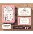 Vintage floral wedding invitation set Template vector image
