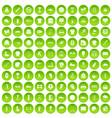 100 sport club icons set green circle vector image vector image
