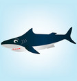 a frightened surprised white cartoon shark vector image vector image