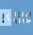 arab isometric dubai man saudi woman business vector image