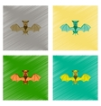 assembly flat shading style icon cute bat vector image vector image