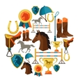 Background with horse equipment in flat style vector image vector image