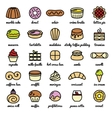 big line icon set of world best desserts and vector image