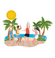 boy and girl with summer swimwear design vector image