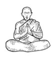buddhist monk meditating engraving vector image