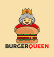 burger big queen good for restaurant logo vector image