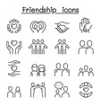 care friendship icon set in thin line style vector image vector image