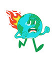 cartoon character earth in flame vector image
