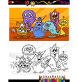 cartoon monsters group coloring page vector image vector image