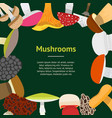 cartoon mushrooms banner card vector image vector image