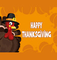 cartoon turkey and text happy thanksgiving vector image vector image