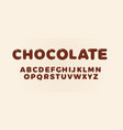 chocolate letters set brown bold style alphabet vector image vector image