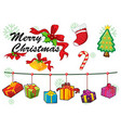 Christmas card template ornaments and gifts vector image vector image