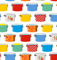 Colored pans Seamless pattern for kitchen Kitchen vector image vector image