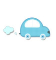 cut out fabric or paper chequered blue retro car vector image