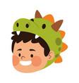 cute little boy dressed as a dinosaur head vector image vector image