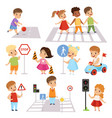 cute smiling boys and girls crossing streets and vector image