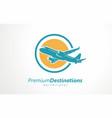 destination logo design airplane flight vector image vector image