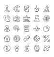 doodle icons banking and finance vector image vector image