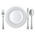 Empty plate with spoon knife and fork vector | Price: 3 Credits (USD $3)