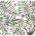 exotic plumeria green plants seamless pattern vector image vector image