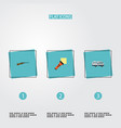 flat icons caravan lighter weapon and other vector image vector image