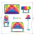 Furniture and interior decor with rainbow pattern vector image vector image