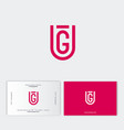 g and u shield monogram emblem flat linear letters vector image vector image