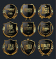 golden shields and laurel wreaths retro design vector image vector image